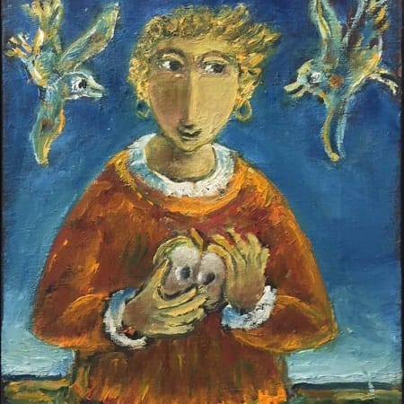 Girl and two birds by Yosl Bergner [2015]