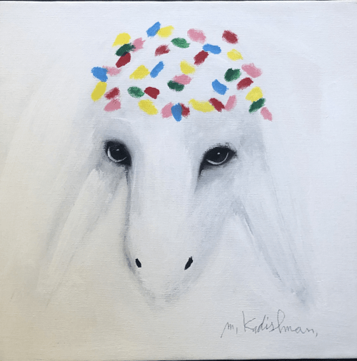 Small White Sheep by MENASHE KADISHMAN [2000]