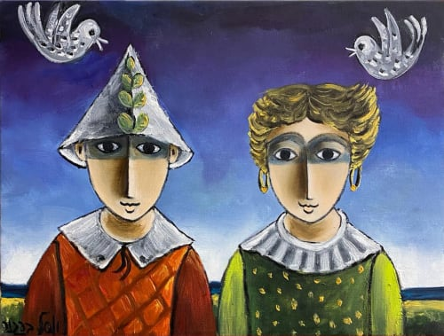 Couple and two birds by Yosl Bergner [1990]