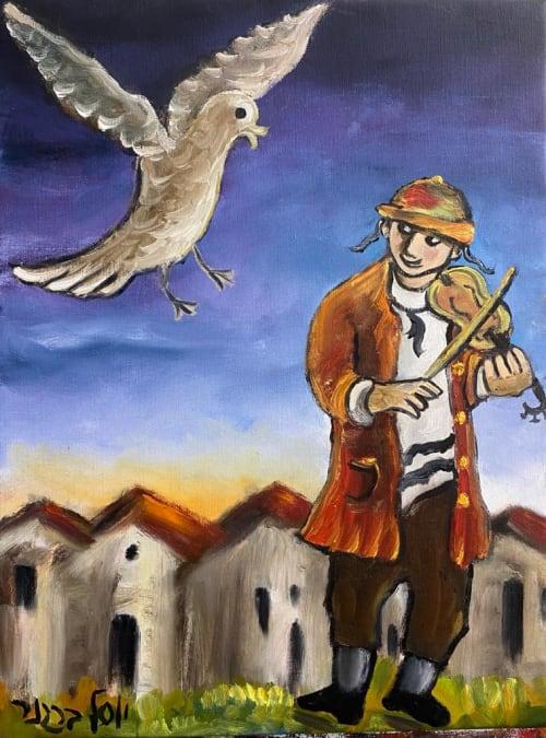 Fiddler and bird by Yosl Bergner [1990]