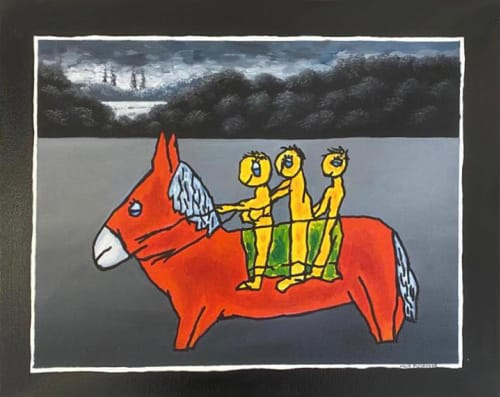 Red Donkey by MEIR PICHHADZE  [1990]