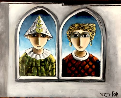 Couple in the Window by Yosl Bergner [1990]