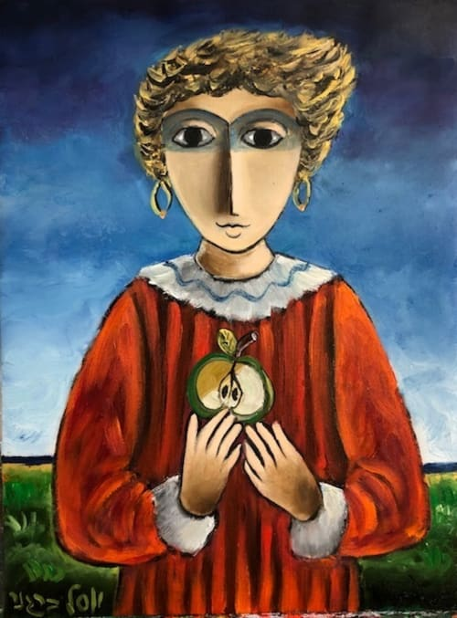 Girl and Apple by Yosl Bergner [1990]