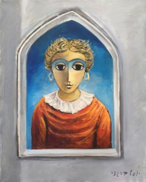 Girl in the window by Yosl Bergner [1990]