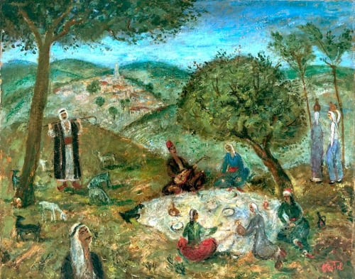 Meal on the Grass by MOSHE CASTEL [1920]