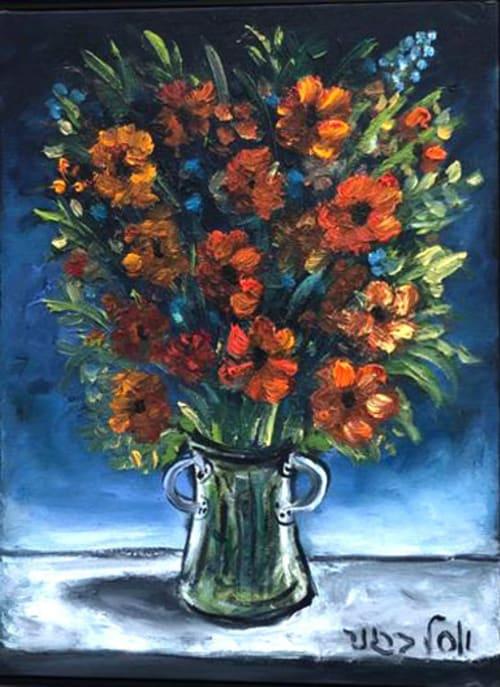 Red Flowers by Yosl Bergner [1990]