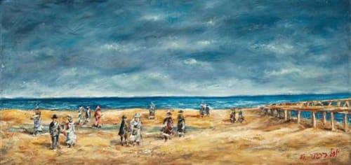 Tel Aviv Beach by Yosl Bergner [1985]
