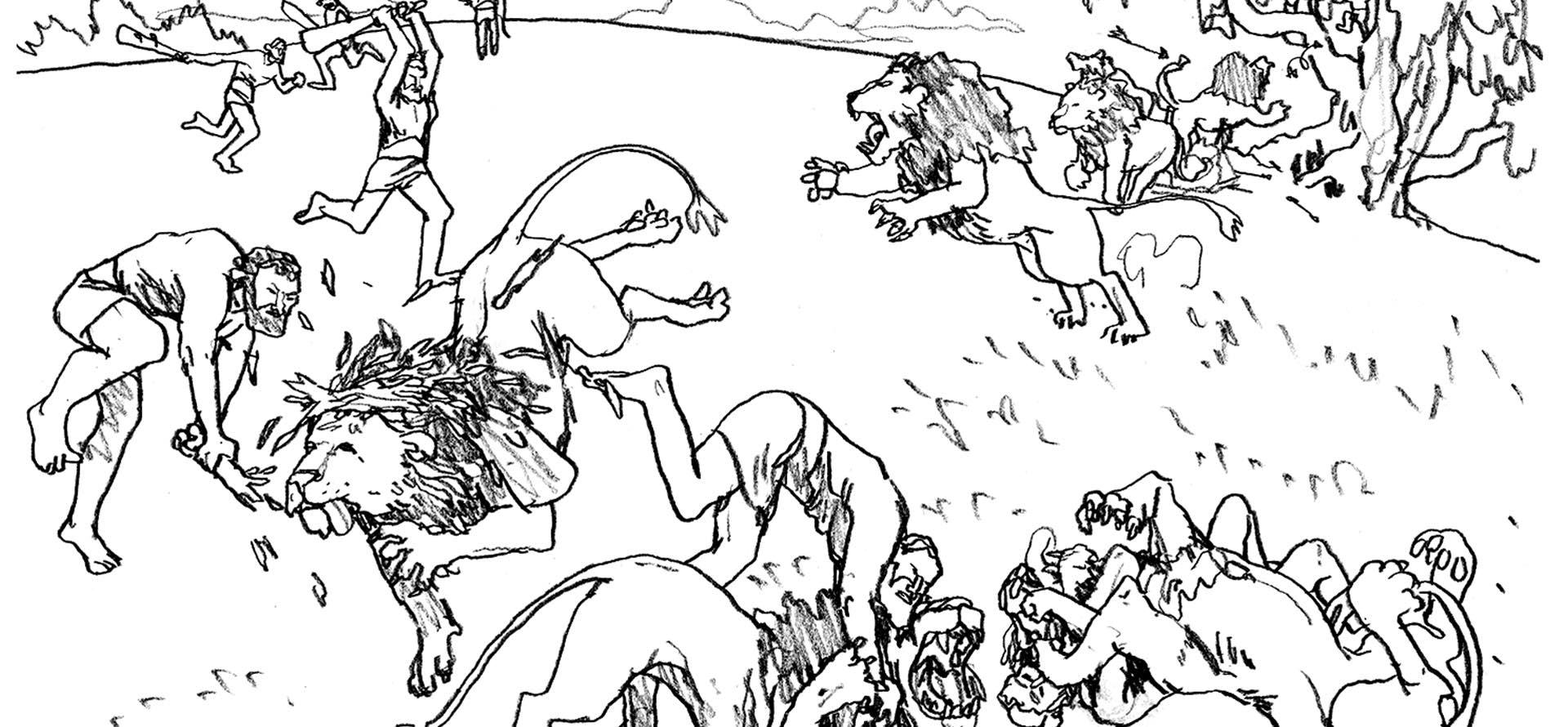 """Etapas criativas da cena """"A luta com o leão"""", da coleção Os 12 Trabalhos de Hércules, feitas por Daniloz."""