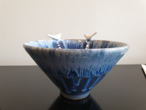 Blue Lovebirds Bowl, Large