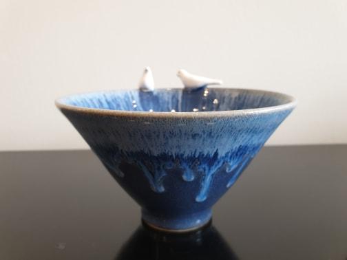 Blue Lovebirds Bowl, Medium