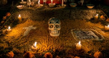 Day of the Dead skull and Corona beer bottles