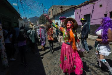 A masked zayaca during Carnaval in Ajijic, Mexico