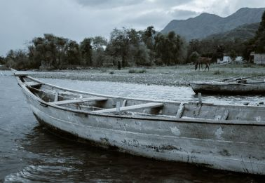 Boats in an Oncoming Storm at Lake Chapala