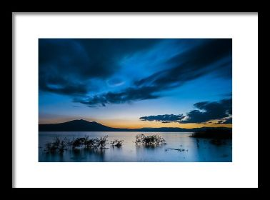 Blue Lake Chapala Winter Sunset landscape fine art print
