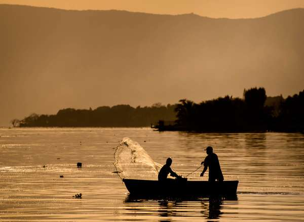 Men go net fishing during sunset on Lake Chapala in Ajijic, Mexico. Fish provide daily nutrition for some people living on the lake. Though the lake water is fairly polluted with farming and industrial runoff, recent testing has indicated that fish from the lake are safe enough to eat.