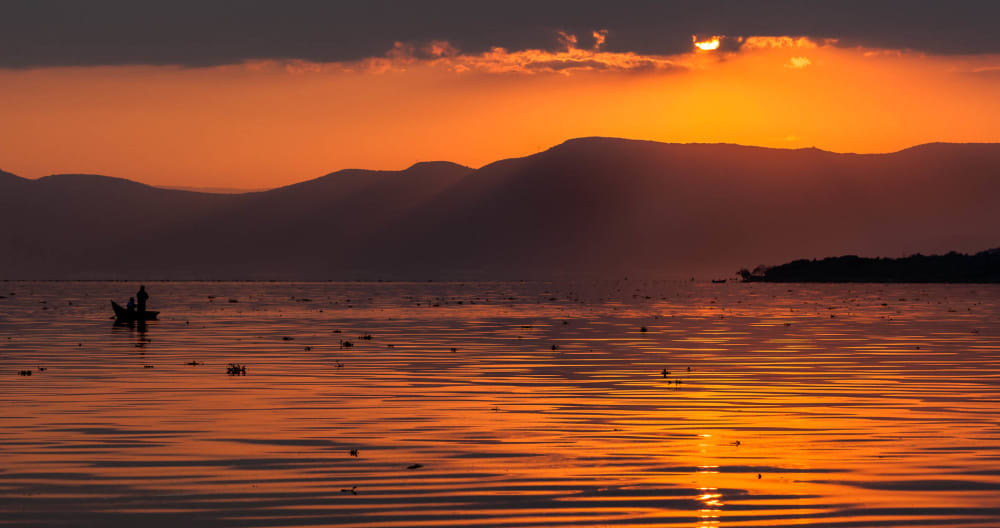 Men on a rowboat at sunset.