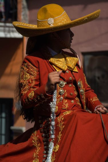 The queen of the 2016 Association of Charros Ajijic, Gaby Gucho, during the Día de la Independencia parade in Ajijic, Jalisco, Mexico.