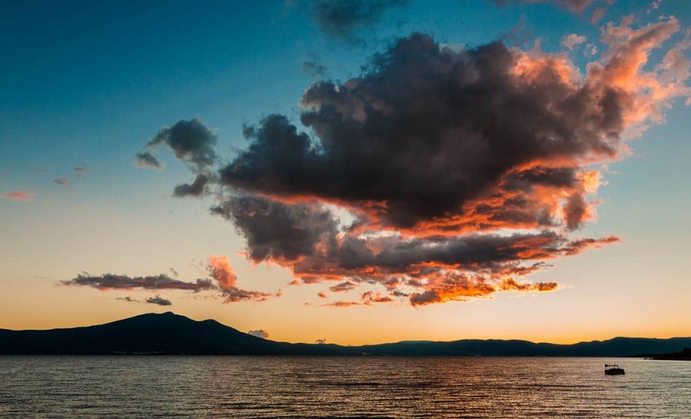 Clouds and Mt. Garcia at El Lago de Chapala in Mexico.