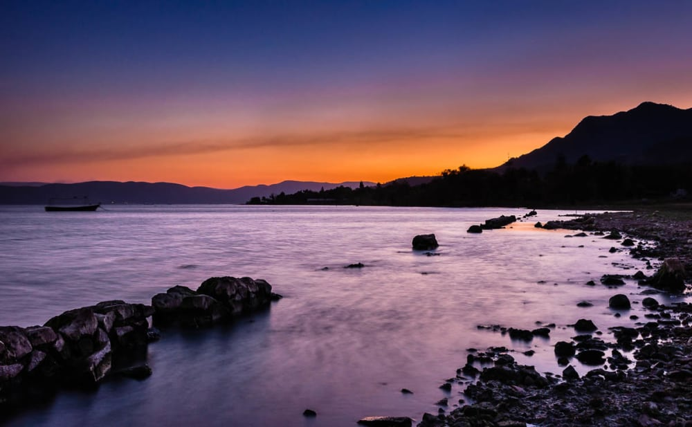 Dramatic purple colors during a sunset at Lake Chapala, Mexico.