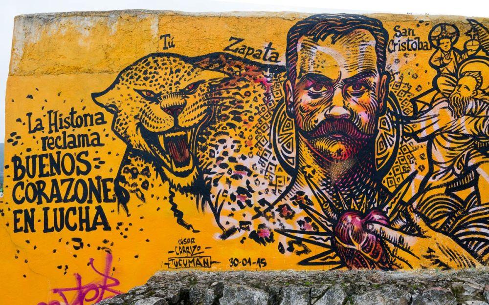 Mural of Emiliano Zapata in San Cristóbal de las Casas, Chiapas, Mexico.