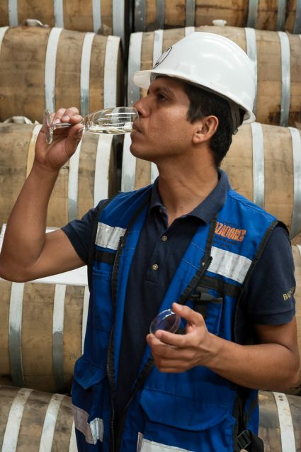 Jesús Reza, master tequilero of Tequila Cazadores, in the distillery's aging room in Arandas, Jalisco