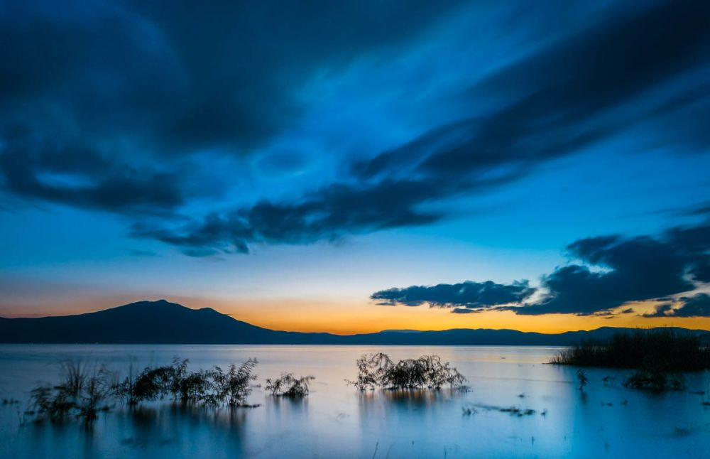 Blue Lake Chapala Winter Sunset