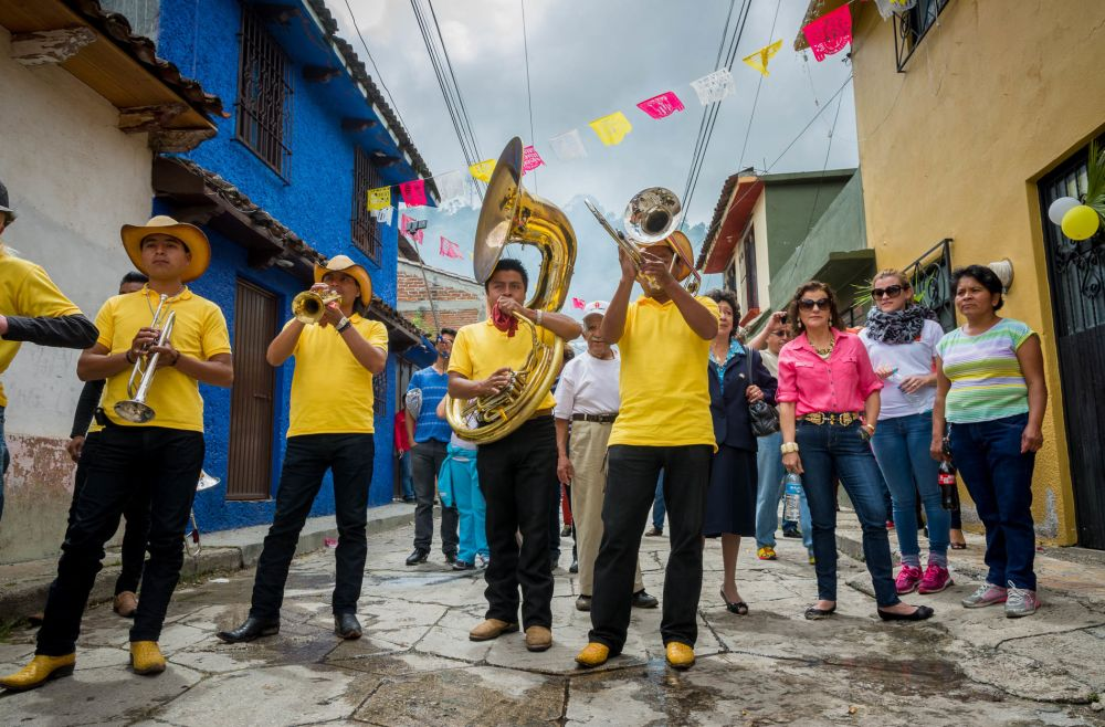 Banda in San Cristóbal de las Casas, Chiapas, Mexico, playing during a procession for Our Lady of Mercy.