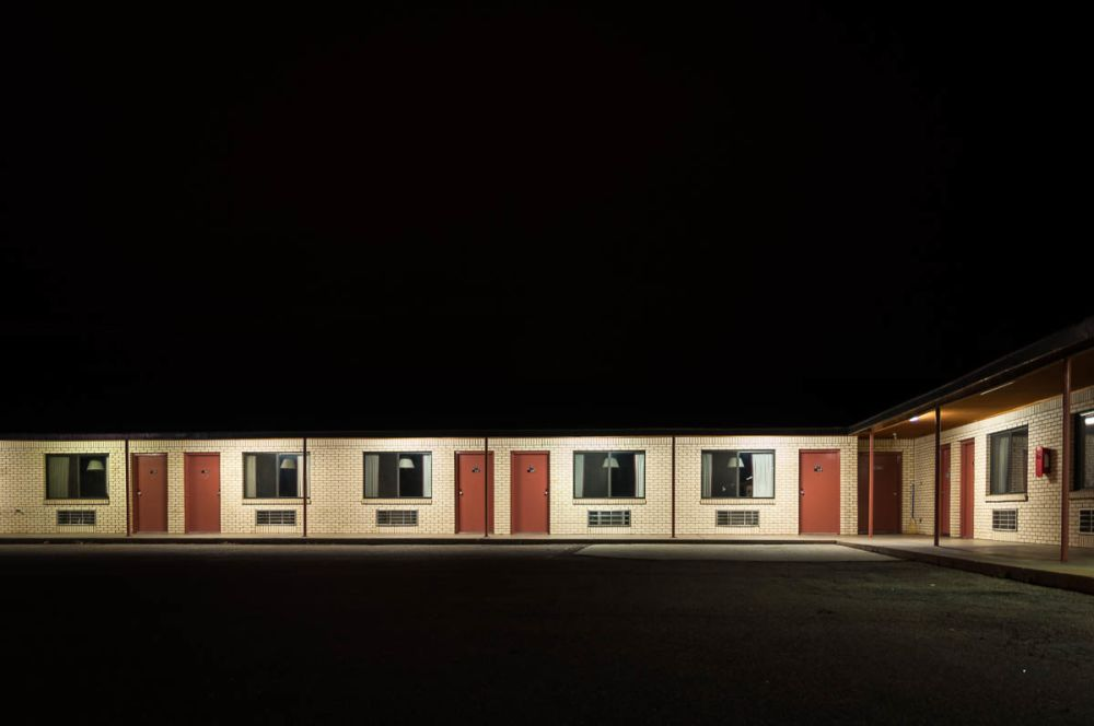 The Regal Motel at night in Las Vegas, New Mexico, in 2010. Scenes from No Country For Old men was filmed here.