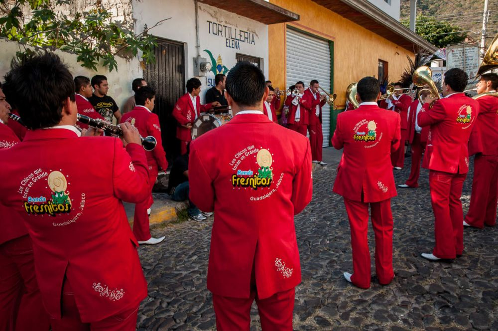 Banda Fresnitos play some songs before the procession in Ajijic for Our Lady of the Rosary.