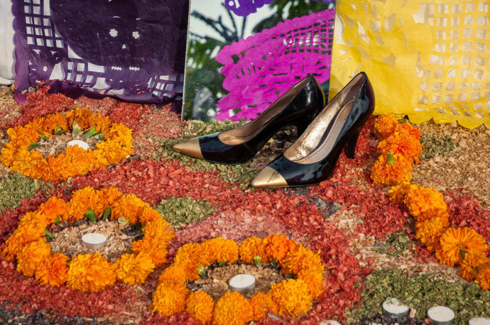 Shoes await the return of the deceased on the Day of the Dead in Chapala, Jalisco, Mexico.