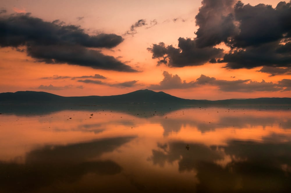 Clouds being reflected on Lake Chapala.