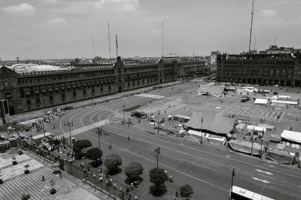 View of Mexico City's Zócalo from the roof of the cathedral.