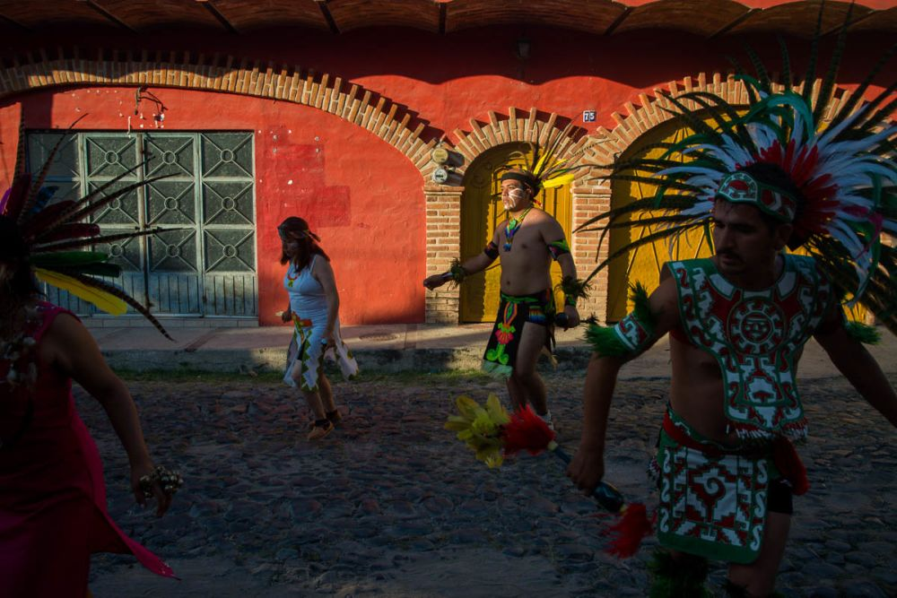 Aztec dancers during the Fiesta for Our Lady of the Rosary in Ajijic.