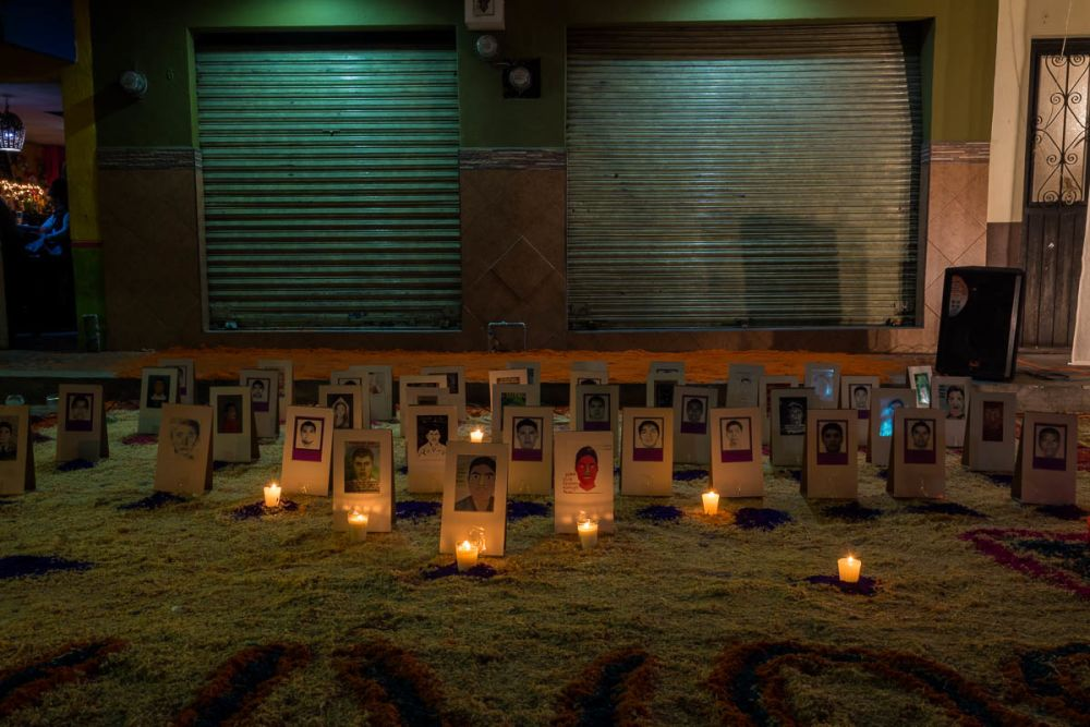 An altar for the 43 presumably murdered students from the Ayotzinapa Rural Teachers' College who went missing in 2014.