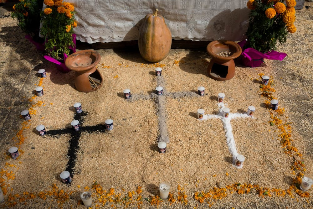 Crosses made from salt, ash, and charcoal for an altar on the Day of the Dead in Chapala, Jalisco.
