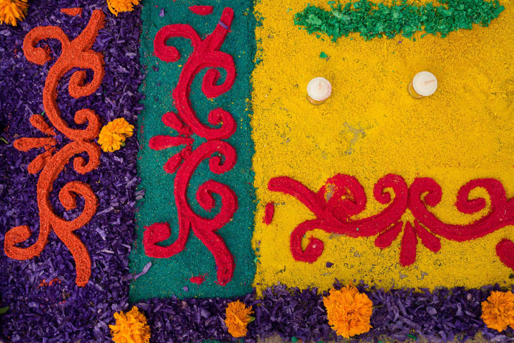 Dyed sawdust designs adorn an altar on the Day of the Dead in Chapala, Jalisco, Mexico.