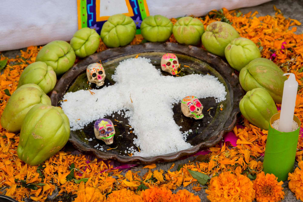 Chayotes at an altar on the Day of the Dead in Chapala, Jalisco, Mexico.