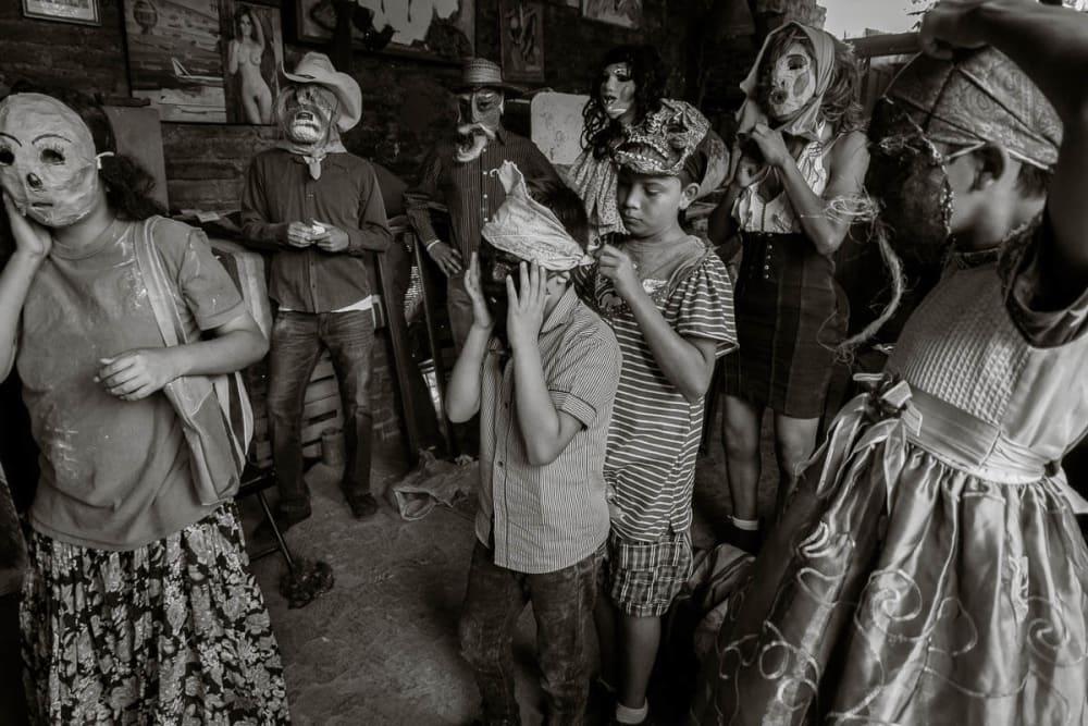 Kids getting dressed as zayacos in Ajijic, Mexico
