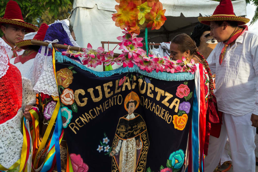 Dancers from Oaxaca, Mexico, perform the guelaguetza in Mexico