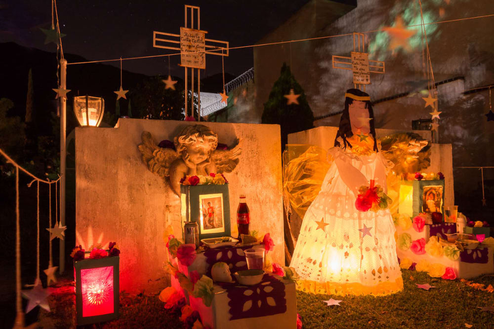 Graveyard display for Children's Day in Ajijic, Jalisco.