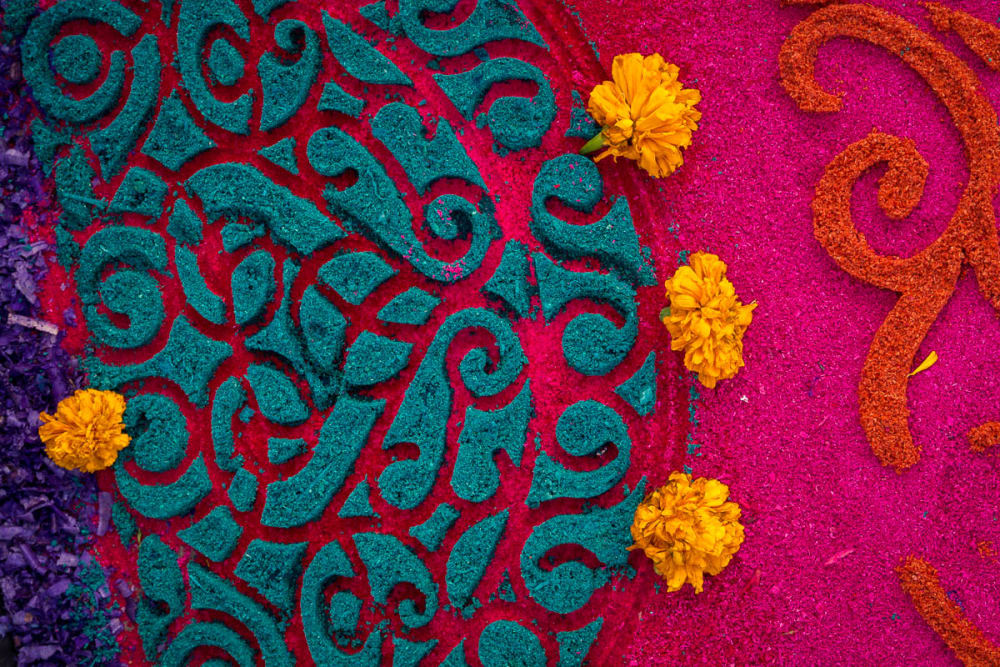 A Día de los Muertos tapete de aserrín (sawdust carpet) in Chapala, Jalisco.