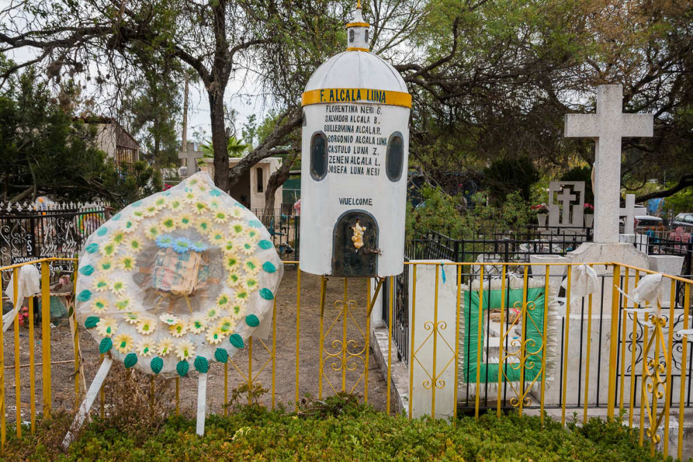 A converted water heater serves as a headstone in the cemetery in Ixtlahuacán de los Membrillos, Jalisco.