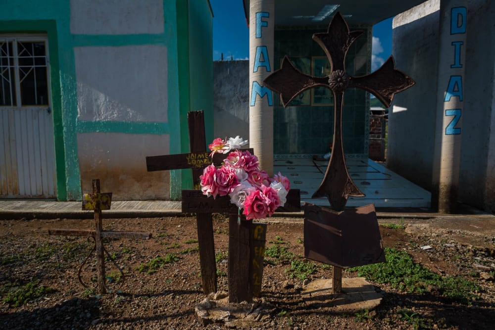 Metal crosses at the Panteón Municipal in Atotonilquillo, Jalisco.