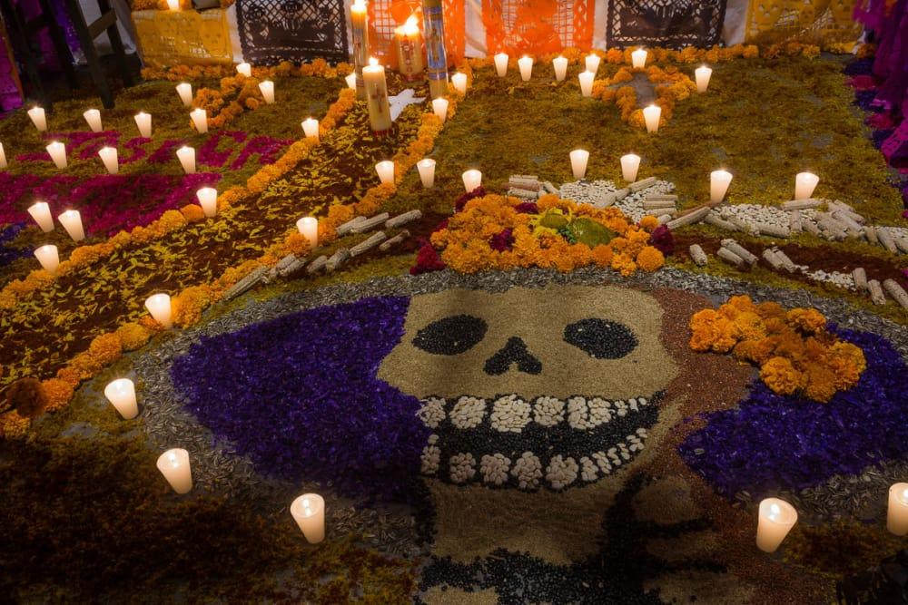 The entrance or entrada of an ofrenda on the Day of the Dead.