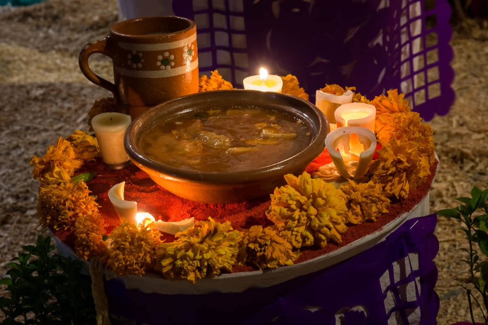 Bowl of soup left as an offering on an altar in Ixtlahuacán de los Membrillos.