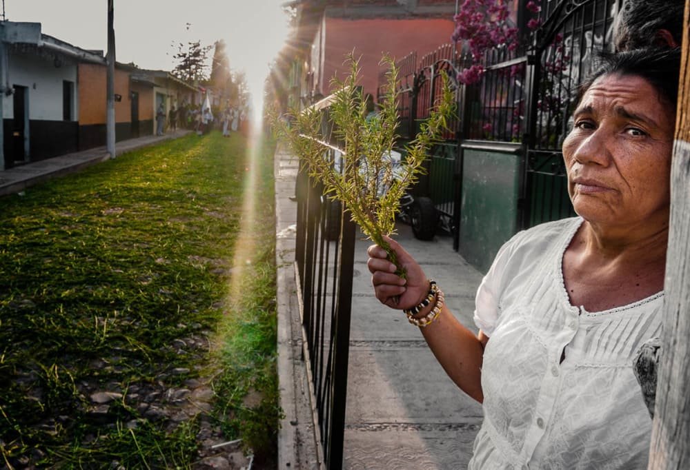 A woman holds a sprig of rosemary before the Palm Sunday procession passes during Easter week in Ajijic.