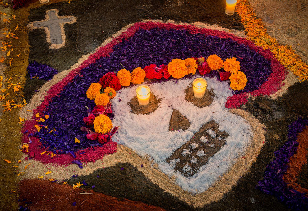 Catrina design made from sawdust and salt on the Day of the Dead in Chapala, Jalisco, Mexico.