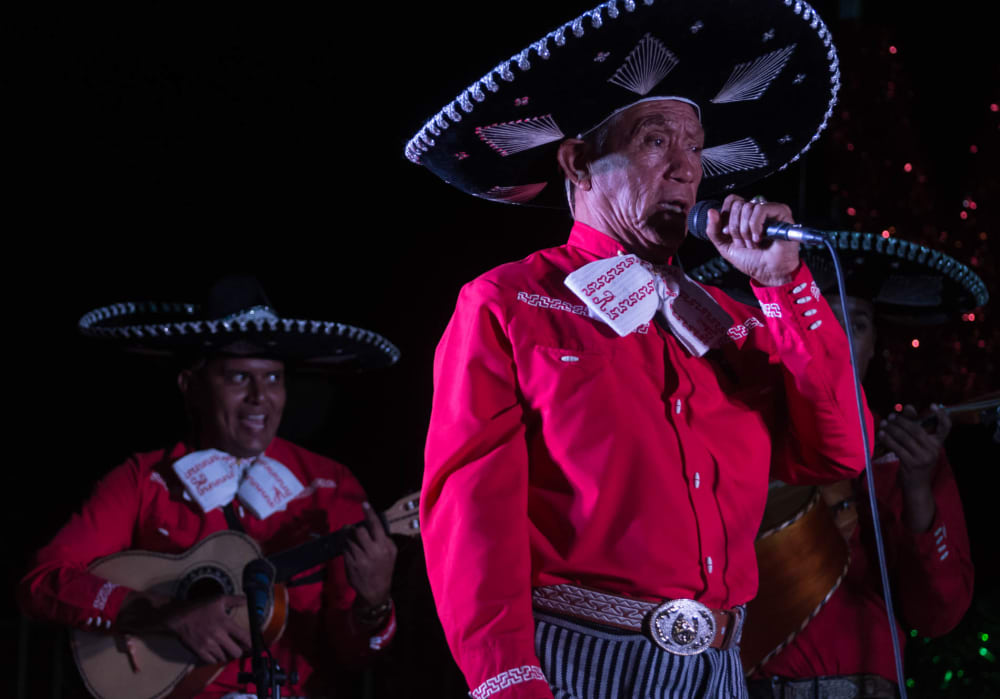 Tito Hinojosa performs a song in his mariachi group in Jalisco, Mexico.
