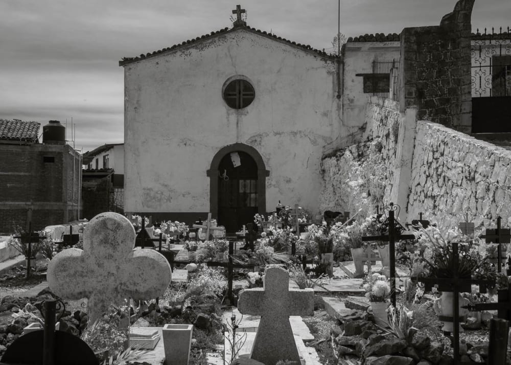 Cemetery on Island of Janítzio in Lake Pátzcuaro, Michoacán, Mexico. It's a famous place for the Day of the Dead.