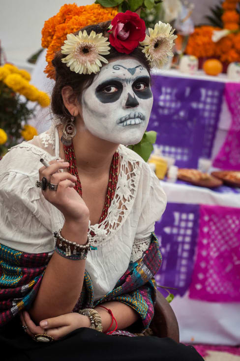 Frida Garcia acting as painter Frida Kahlo on the Day of the Dead in Chapala, Jalisco.